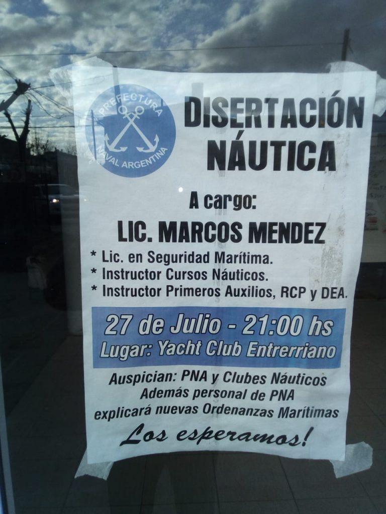 Disertación náutica, este viernes en el YCE